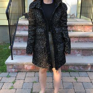 Nanette Lepore 2 black/white tweed winter coat